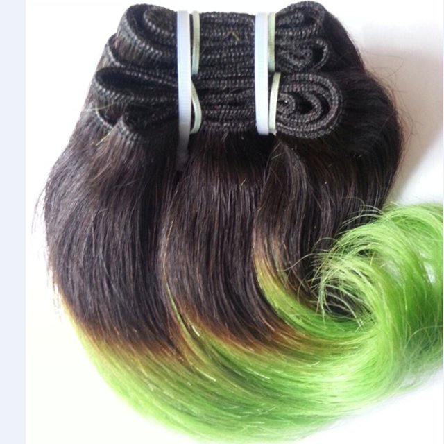 Full Shine Brazilian Short Weave Hair Extensions Remy Hair 1B Green Ombre Body Wave Short Hair Weft Ombre Cabello Humano
