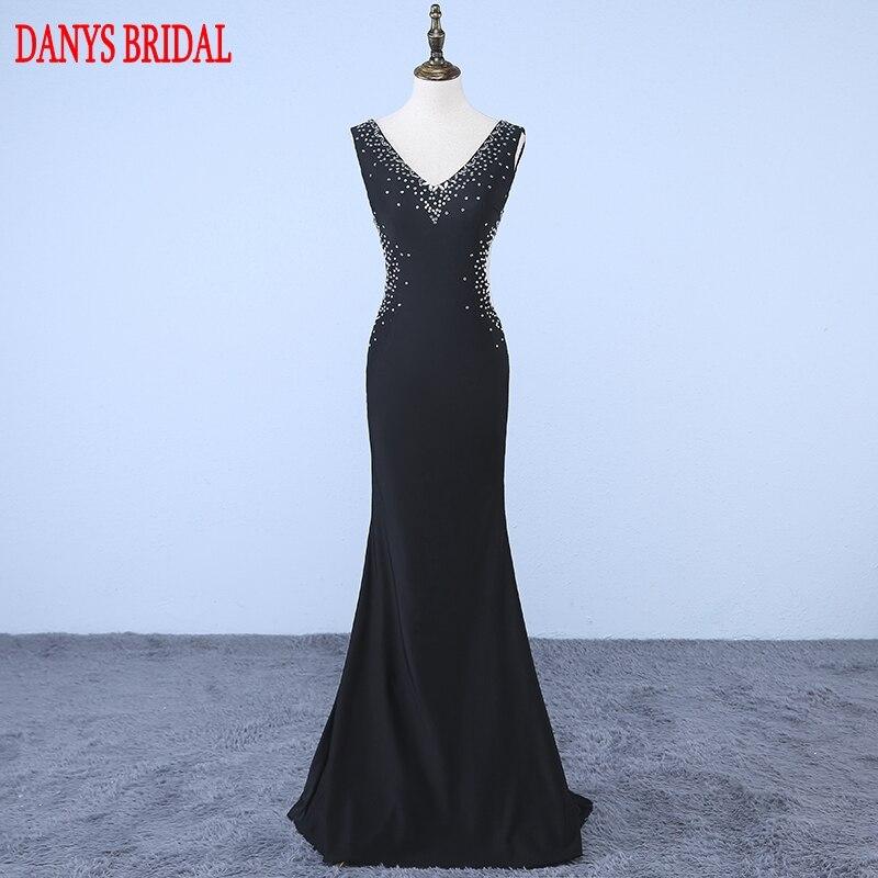 Black Long Mermaid Evening Dresses Party Backless Beautiful Beaded ...