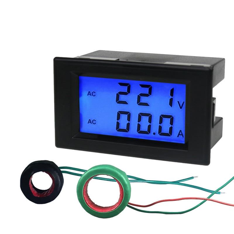 Tüketici Elektroniği'ten Pil Aksesuarları'de DYKB 100 300 V/100A AC Dijital LCD Volt Amp Voltmetre Ampermetre + CT (Şant) sensör Trafo 110 V 220 V title=