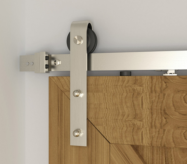 Diyhd 5ft 8ft Soft Closing Brushed Nickel Sliding Barn Door Hardware