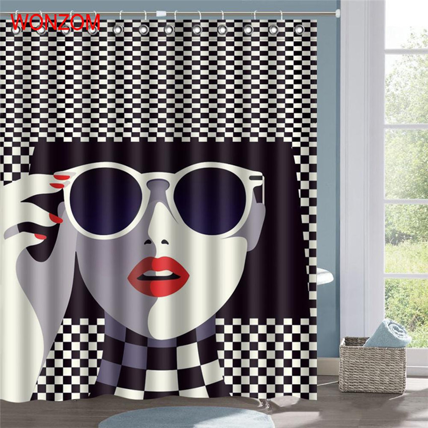 WONZOM 1Pcs Creepy Style Waterproof Shower Curtain Woman Bathroom Decor Skull Decoration Cortina De Bano 2017 Bath Gift In Curtains From Home