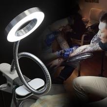 Lámpara de belleza LED de luz fría para manicura con tatuaje de cejas Semi permanente portátil, lámpara de mesa ajustable de carga USB con Clip