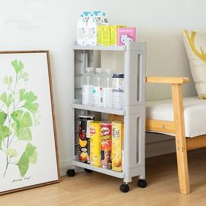 Image 3 - The Goods For Kitchen Storage Rack Fridge Side Shelf 2/3/4 Layer Removable With Wheels Bathroom Organizer Shelf Gap Holder