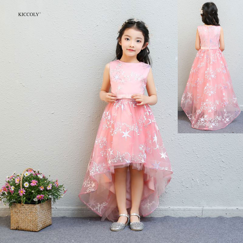 KICCOLY 2018 New Kids Girl Party Dress Girl Pink Trailing Dress Five-pointed Star Ball Gown Dress With Girls Wedding Dress 1-14Y chic small ball embellished five pointed star pattern knitted beanie for women