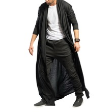 2019 caliente trinchera Vintage abrigo para hombres de moda de otoño sólido delgado para hombres chaquetas largas Casual de talla grande Hip Hop Cardigan gabardina masculina
