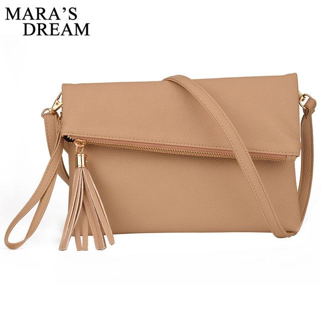 Women Messenger PU Handbags Zipper Solid Shoulder Clutch Bag