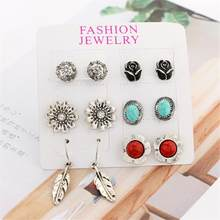 6 pairs in One Set Classic Earrings Leaf Rose Flowers Shape Ear Stud Woman Girl Ear Drop(China)