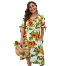 WHZHM Bow Plus Size 3XL 4XL Beach Flower Dress Women Party Casual Female V-Neck Short Sleeve Floral Printed Jurk Lace Up Vadim