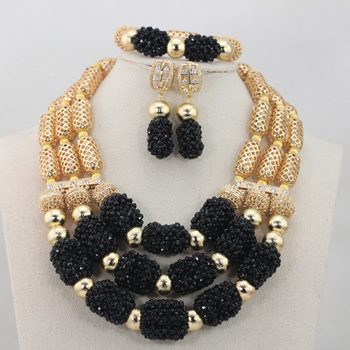 2017 Fantastic Black Jewelry Sets for Women African Black Jewelry Set Crystal Bib Statement Necklace Free ShipABL866