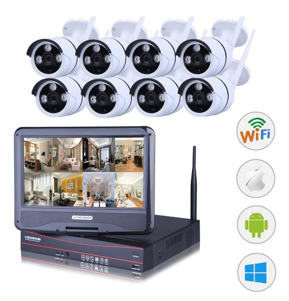 8CH NVR WIFI CCTV Security Camera System 8PCS 1080P HD Outdoor ...