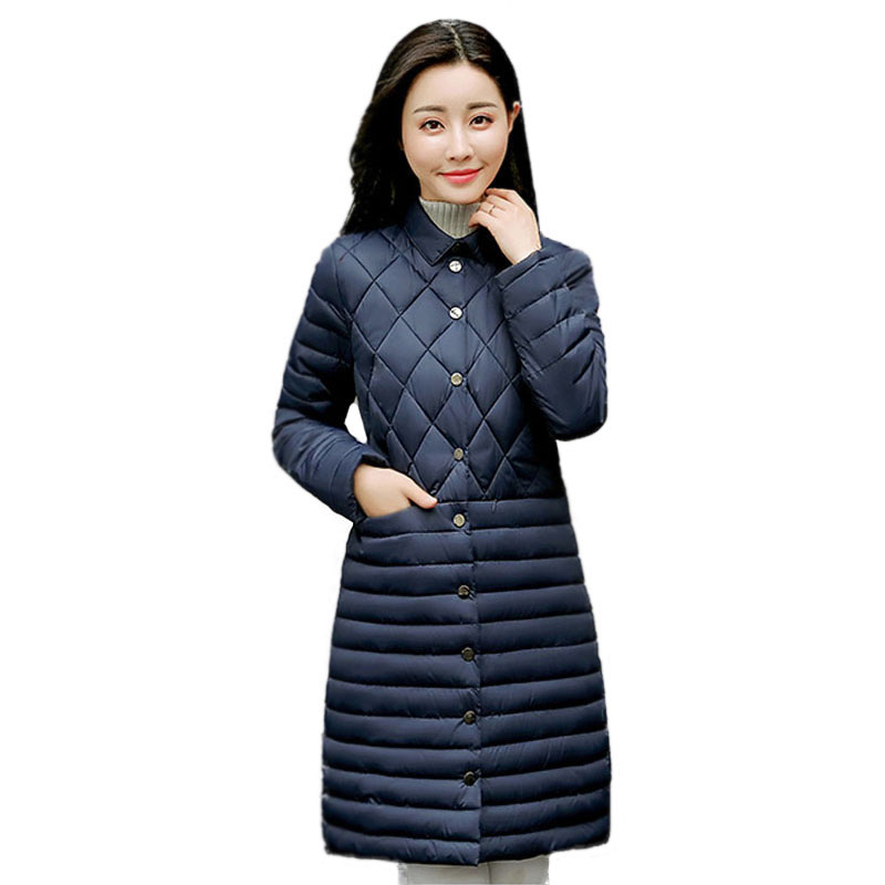 New Women Quilted Jacket Slim Turn-Down Collar Autumn Winter Down Cotton Wadded Coat Soft Mid-Long Female Parkas Outwear s 2xl 2 colors 2015 new winter women down coat long slim turn down collar zipper jacket female belt pocket outwear zs308