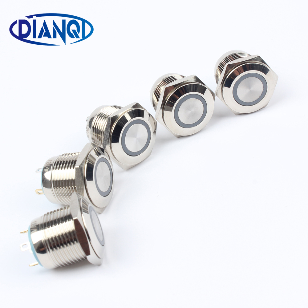16mm 3V 6V 12V Metal brass Push Button Switch illumination ring Momentary 1NO Car press button pin terminal reset 16HX.F.K4 16mm momentary push button switch press the reset switch momentary on off push button micro switch normally open no reset