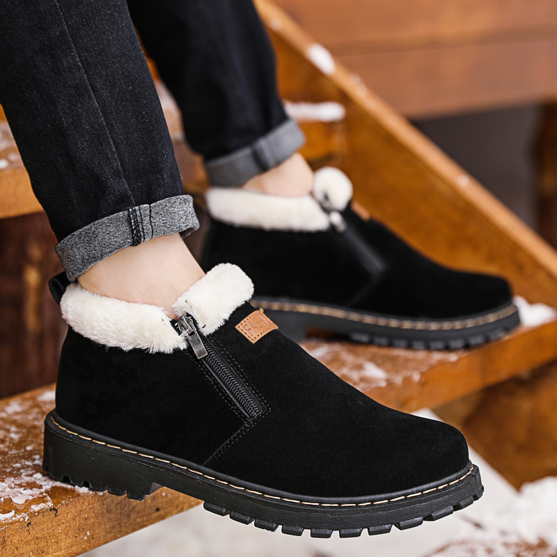 Black Winter Supper Warm Plush Snow Boots Male Shoes Wear-resisting Non-Slip Sneakers Rubber Sole Casual Ankle Boots Adulto Men