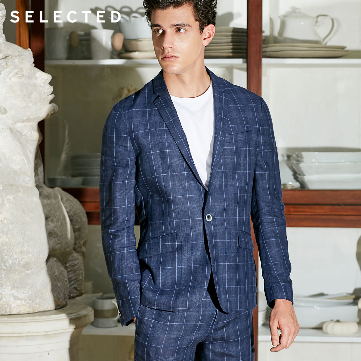 SELECTED Men'S Flax Check Business Casual Clothes Plaid 100% Linen Slim-Fit Blazer S | 418272501