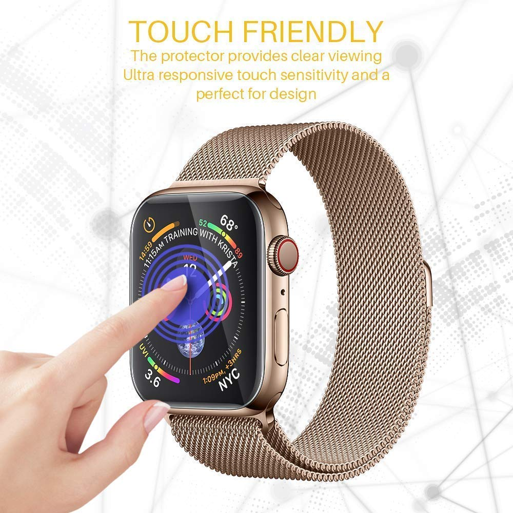 Full Coverage Watch Protective Film For Apple Watch Series 4 44mm 40mm iwatch Anti-Shock TPU (Not Glass) Screen Protector Cover 3pack tpu screen protector film for apple watch series 4 40mm 44mm soft tpu anti scratch protective film for iwatch 40mm 44mm
