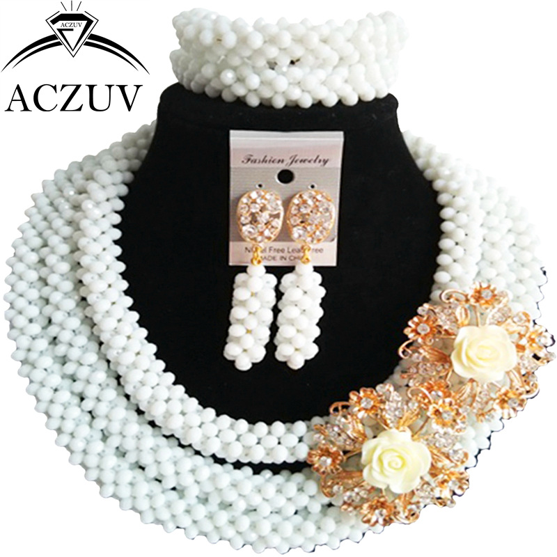 ACZUV Latest White Crystal African Necklace Nigerian Beads Wedding Jewelry Sets B3R018ACZUV Latest White Crystal African Necklace Nigerian Beads Wedding Jewelry Sets B3R018