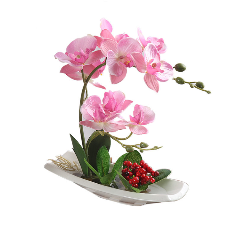 Orchid Bonsai Pot Plant Artificial Phalaenopsis Silk Cloth