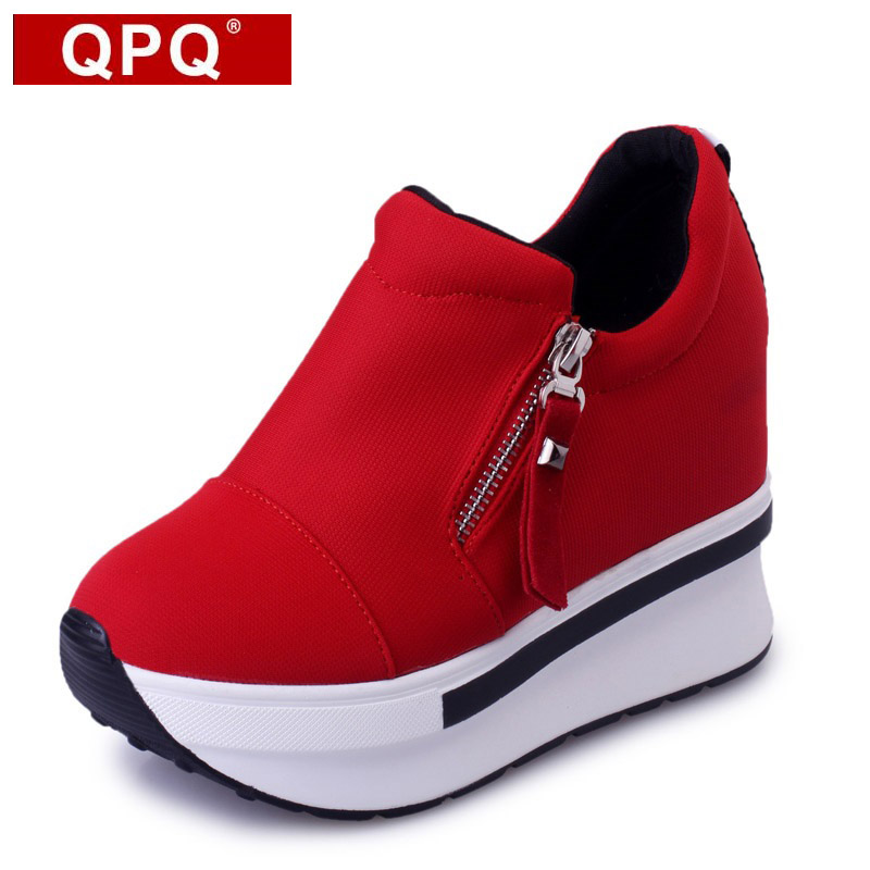 QPQ Wedges Women Boots 2017 New Platform Shoes Woman Creepers Slip On Ankle Boots Fashion Flats Casual Women Shoes phyanic 2017 gladiator sandals gold silver shoes woman summer platform wedges glitters creepers casual women shoes phy3323