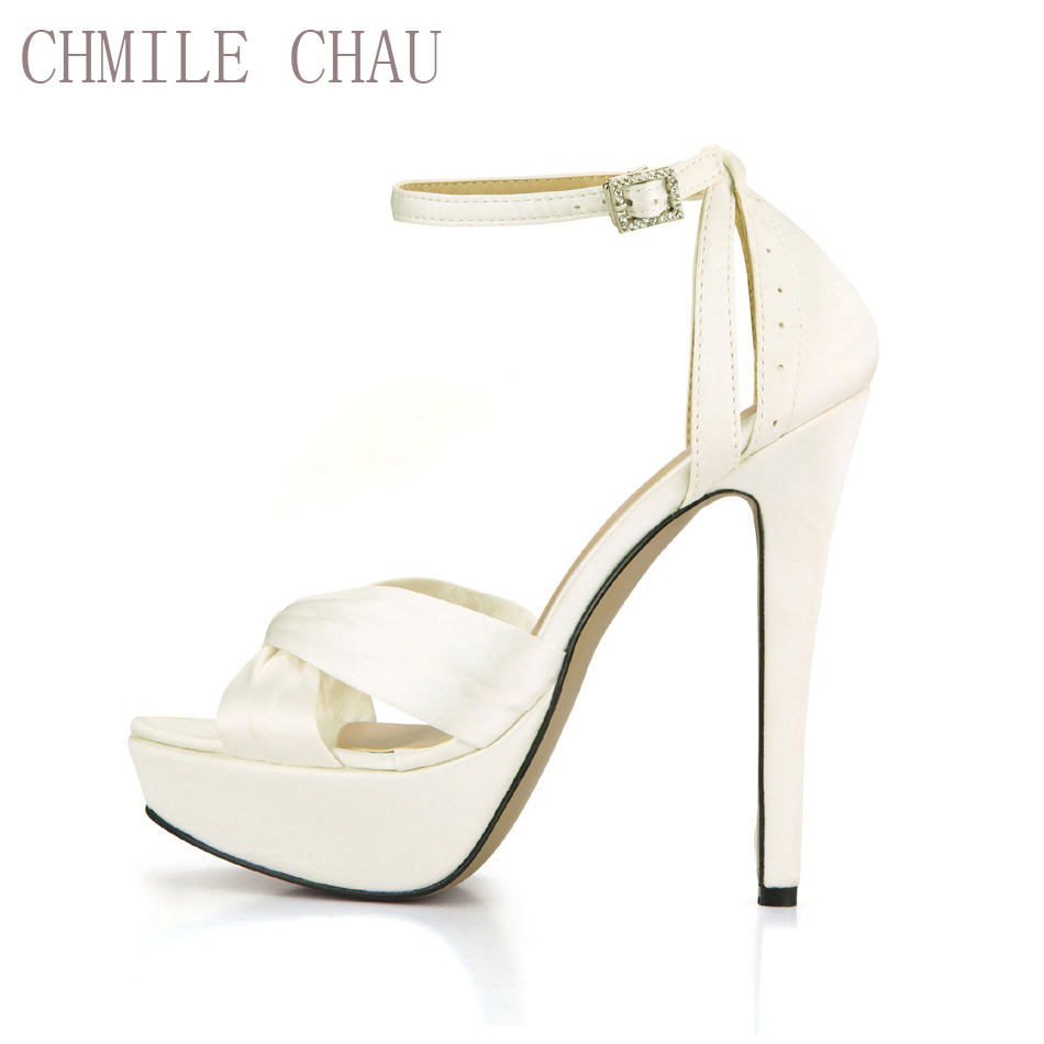 CHMILE CHAU Ivory Satin Elegant Wedding Party Կանացի կոշիկներ Open Toe Stiletto Heel Dating Platform Sandals with Buckle 3463SL-b1