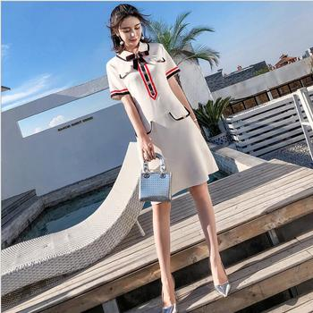 Apricot 2018 spring and summer dress three-dimensional small bee bow short-sleeved thin commuter OL fashion temperament dress