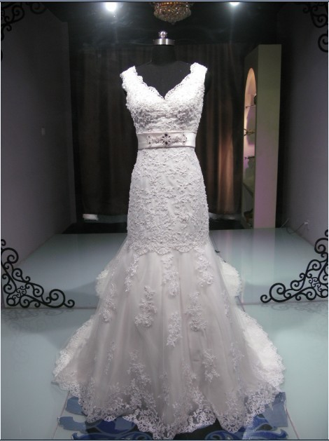 casamento vestido de noiva 2014 romantic new fashionable hot&sexy v-neck long lace wedding Dresses bridal gown free shipping