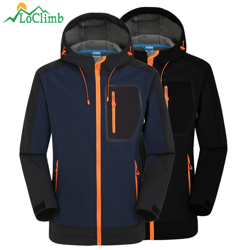 флисовые куртки мужские для рыбалки - LoClimb Softshell Jacket Men Windproof Waterproof Jacket Mens Soft Shell Windbreaker Rain Coat Trekking Hiking Jackets AM039