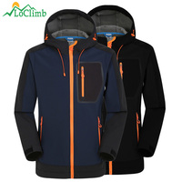 LoClimb Softshell Jacket Men Windproof Waterproof Jacket Men's Soft Shell Windbreaker Rain Coat Trekking Hiking Jackets AM039