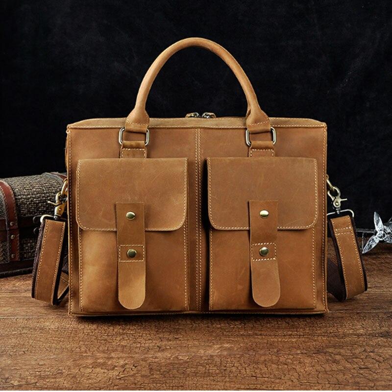 BULLCAPTAIN Men Crazy Horse Cowhide Crossbody Tote Handbag Brand Business Shoulder Messenger Bags 14inch Laptop Handbags цена и фото