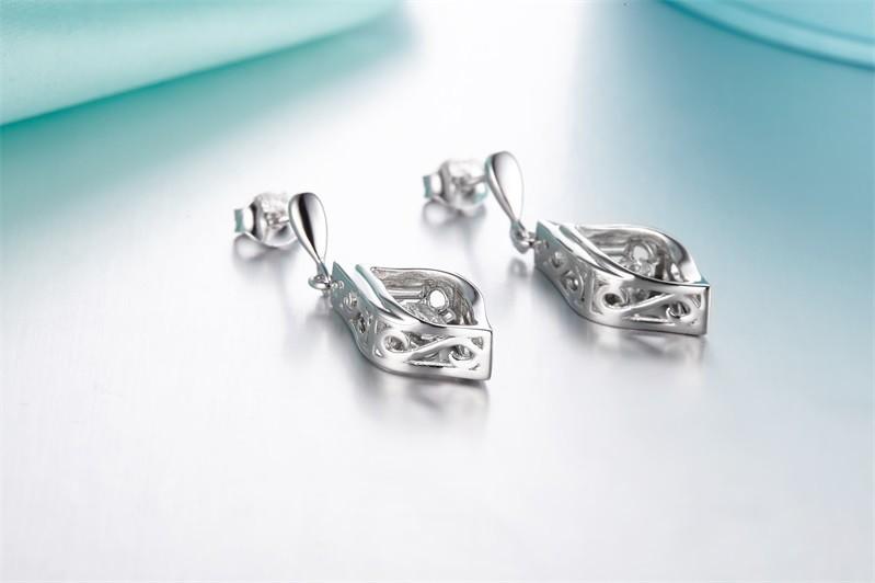Double Sided Crystal 925 Sterling Silver Stud Earrings Women Fine Jewelry Cubic Zirconia Korean Fashion,925-sterling-silver-jewelry (2)
