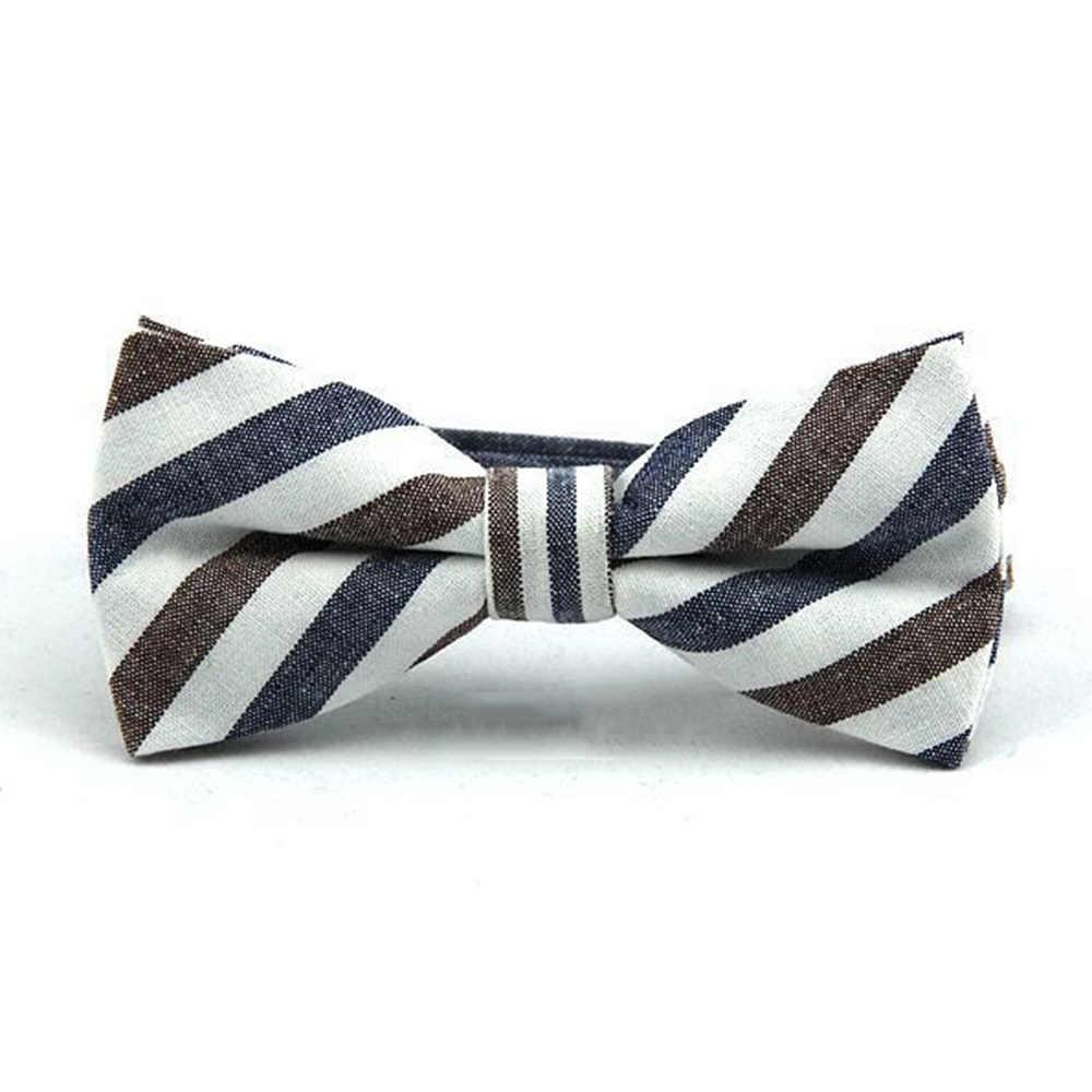 HUISHI למעלה איכות גבר נאה של חליפת עניבת פרפר גברים פס שחור כחול אדום חתונה Bowtie כותנה פרפר עניבת קשת מתנה