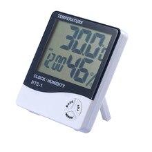 купить LCD Digital Thermometer Hygrometer, Accurate Indoor Temperature Gauge Humidity Monitor with Clock Calendar Alarm for Home Office по цене 313.28 рублей