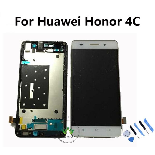 Lcd original para huawei honor 4c pantalla lcd de pantalla táctil con digitalizador asamblea con marco, herramientas Blanco Negro del Color del Oro