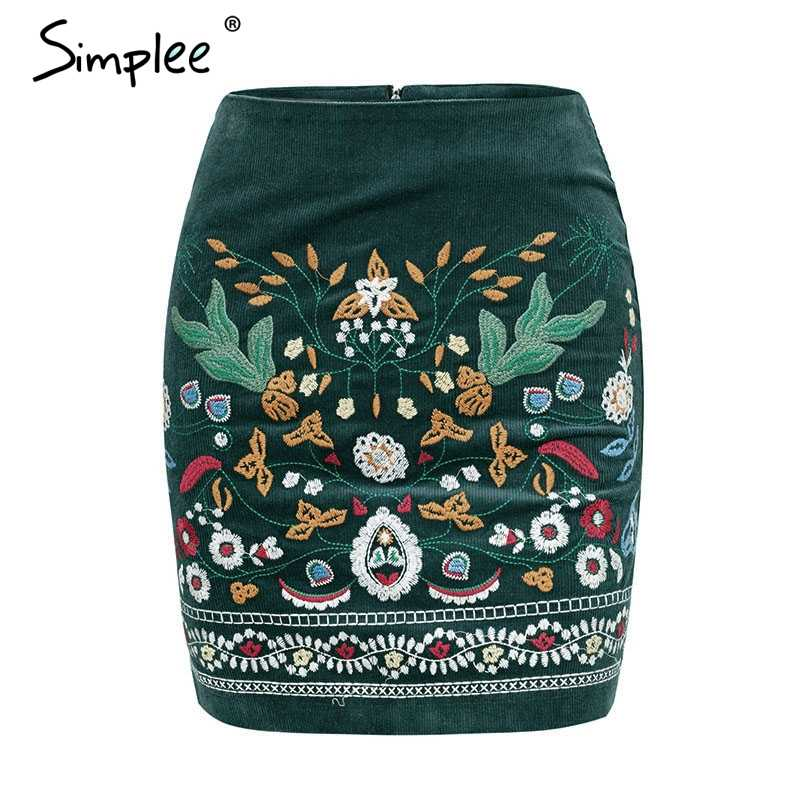 4d11297ec7c2 ... Simplee Vintage high waist skirts womens bottom Boho pencil corduroy  winter skirt female Embroidery autumn sexy ...
