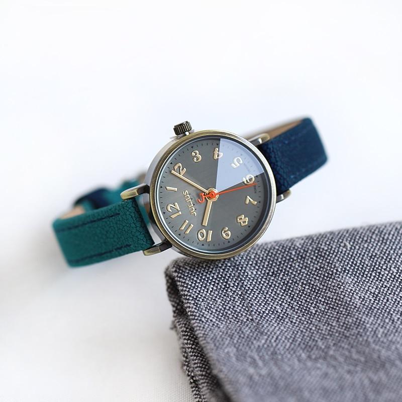 Julius Retro Bronze Case Jean Leather Band Arabic Index Watch Small Wrist Clock For Ladies Fashion Casual Accessory Hour JA-855