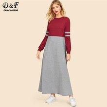 Dotfashion Colorblock Zwei Ton Kleid Frauen Casual Frühling Herbst Langarm  Rundhals Kleidung Damen Multicolor Maxi Kleid 6162c88149
