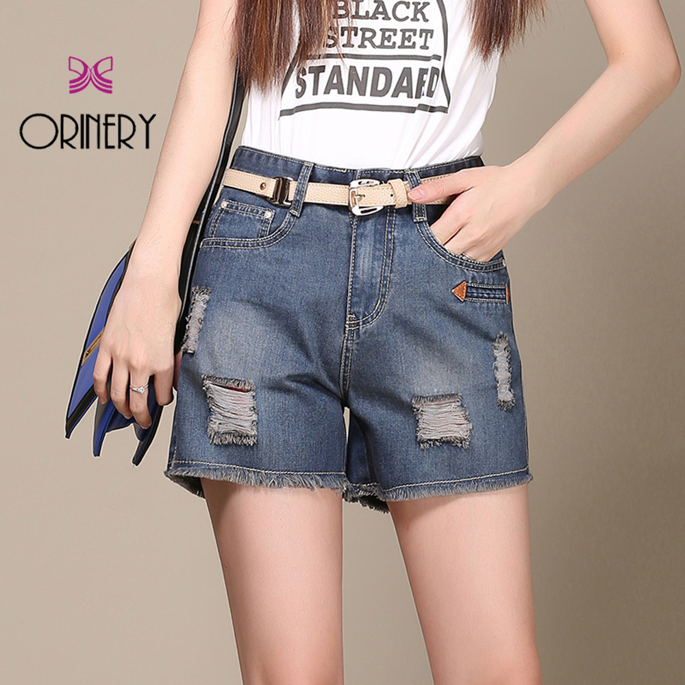 ФОТО ORINERY Two Colors Shorts Jeans For Ladies Fashion Mid Waist Holes Pants 100% Original Brand Hot Pants In The Summer