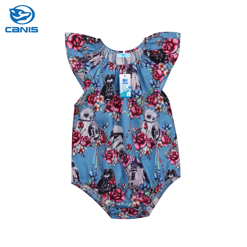 CANIS 2018 Summer Newborn Baby Girls Bodysuit Star Wars Flower Summer Bodysuits Jumpsuit Outfits Baby Girl Clothes Set Bebe