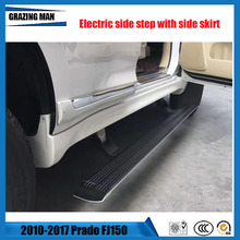 Hot sale Flexible aluminium alloy side step with side skirt running board Electric pedal for Prado FJ150 2010 - 2017 1set cnc aluminum alloy side pedal step side step board with receive box for 5 doors jeep axial scx10 scx10ll rc simulated cars