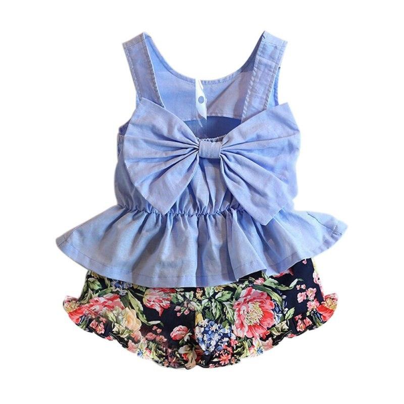 b5659ac9b طفل بنات وتتسابق ملابس أطفال القوس قمصان تانك القمم + الطباعة السراويل  السراويل الطفل 2 قطع طقم ملابس