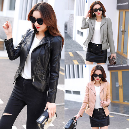 Imitation   leather   female spring and autumn 2019 new Korean casual handsome wild short paragraph Slim jacket loose thin