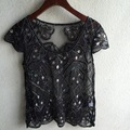 DYT024 Women's Heavy Beaded gauze hollowed out Sexy Chiffon shirt sleeve head short sleeved polo shirts/3color