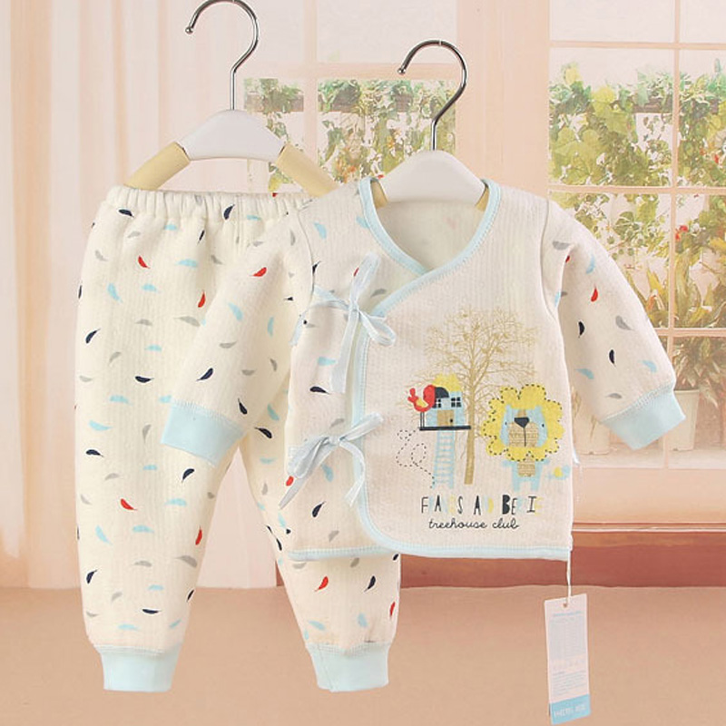 Newborn Children Cloth Suit Thick Warm Baby Boys And Girls Infant Clothing Belt Cotton Baby Underwear Clothing Set For 0-3M hhtu 2017 new infant baby girl boys sleep clothing set children cute cartoon pajamas suit newborn kids soft cotton underwear