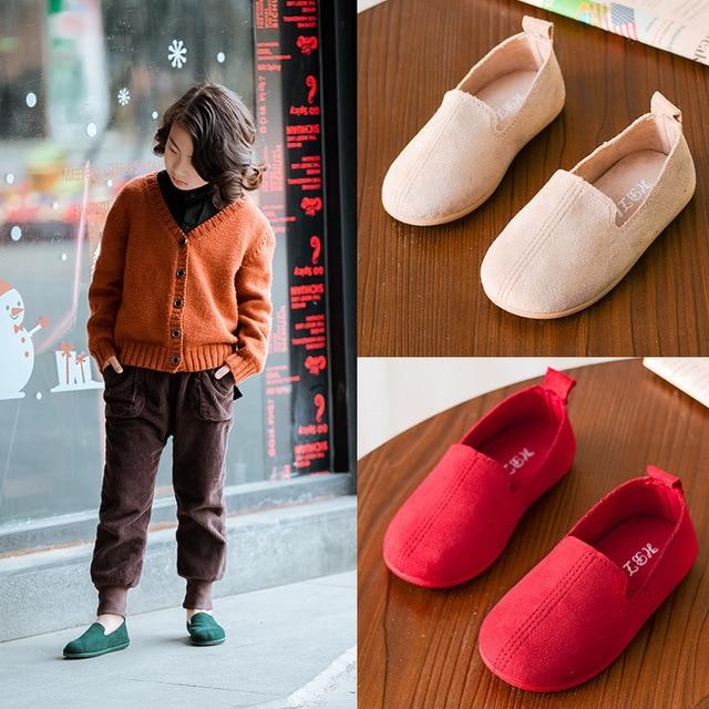 KRIATIV2019 אופנה נעליים יומיומיות לילדים נעלי מוצק צבע רך תחתון עור חיצוני נעלי בנות נעלי אפונה באיכות גבוהה