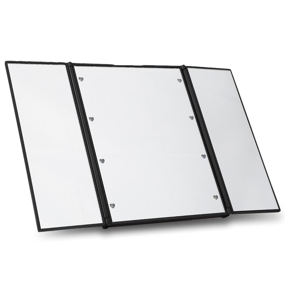Free Shipping Portable Toilet Three Folding Table LED Lamp Luminous Makeup Cosmetic Mirror