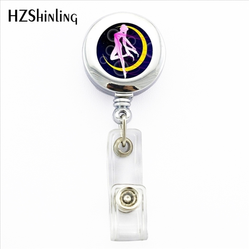 US $2 6 35% OFF|2017 New Sailor Moon Retractable Badge Holder Star Moon ID  Card Holder With Clip Anime Photo Office Badge Reel-in Brooches from
