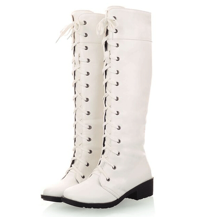 Popular White Knee High Lace up Boots-Buy Cheap White Knee High ...