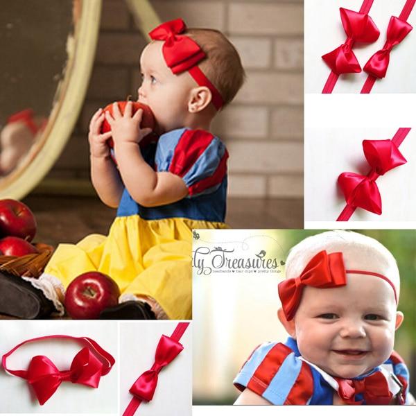 TIPPA Hair Accessories baby kids Infant Big Red Hair bows Ribbon Snow Bows  Elastic headbands hair c2918f9b1ae