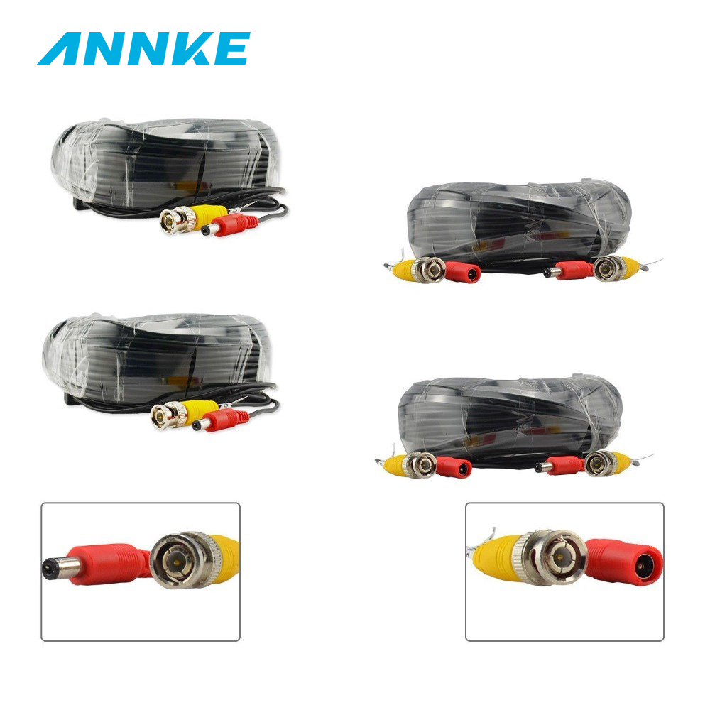 ANNKE 4PCS A Lot 30M 100ft CCTV Cable BNC + DC Plug Video Power Cable For Wire Camera And DVR Surveillance System Accessories цена 2017
