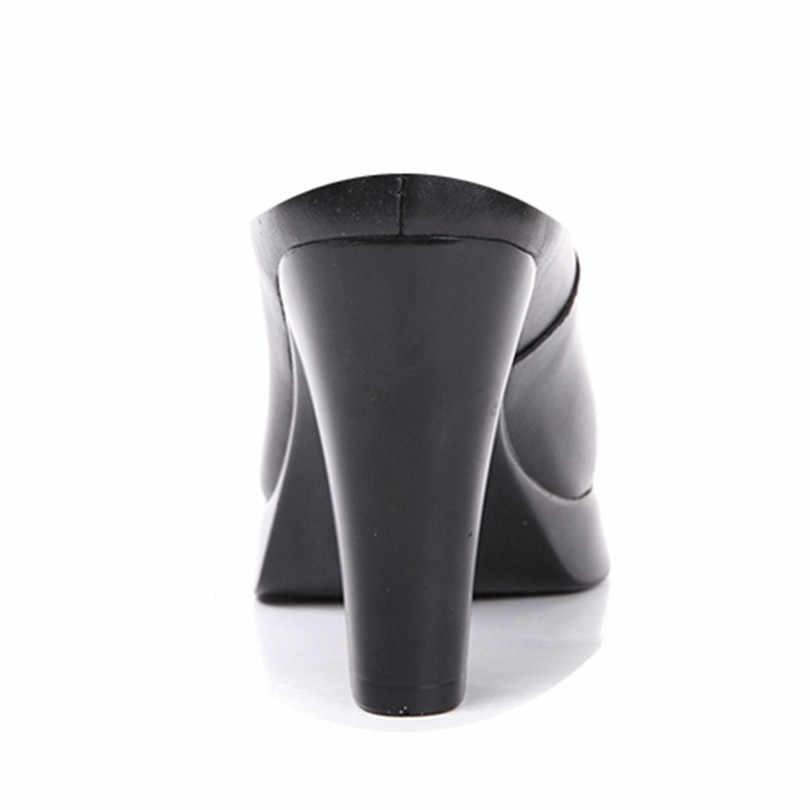 LIN kral artı boyutu hakiki deri kare topuk kadın üzerinde kayma pompaları sivri burun yüksek topuk ayakkabı rahat açık platformu ayakkabı