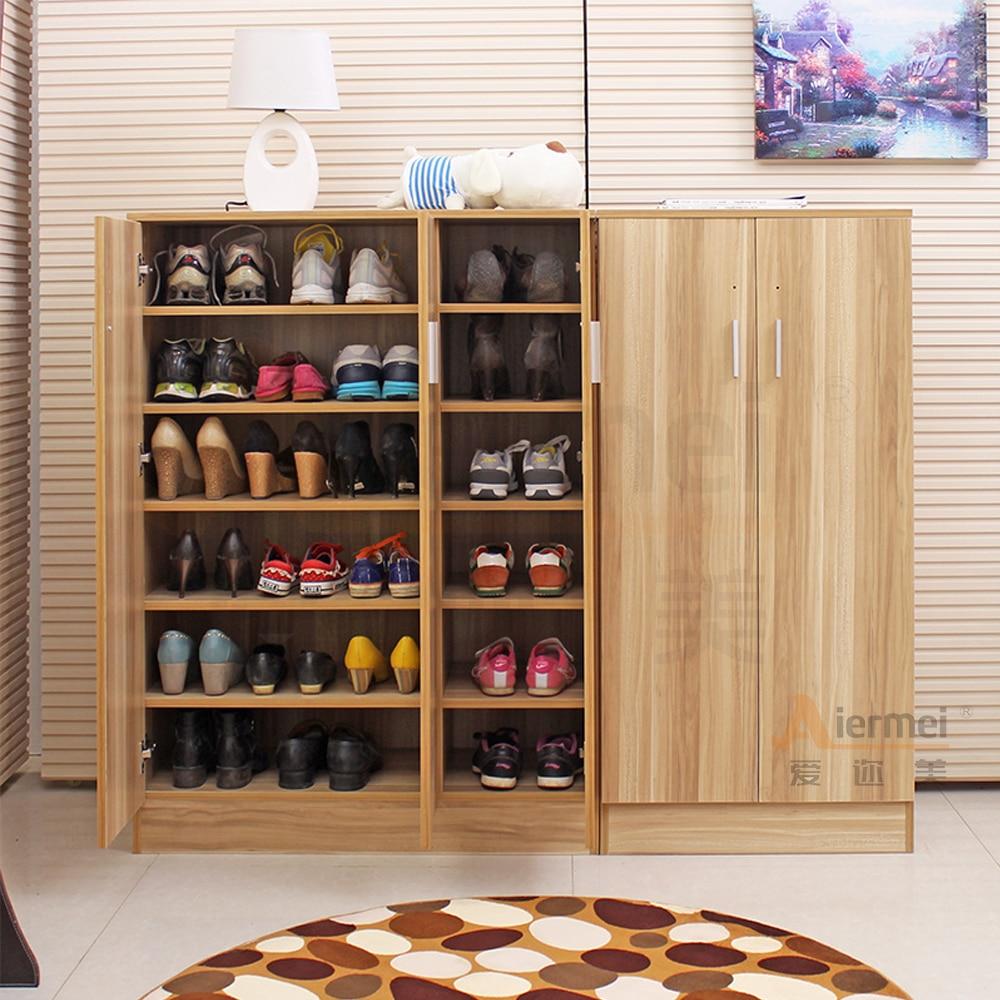 Home Furniture Solid Teak Wood Shoe Storage Cabinet Design